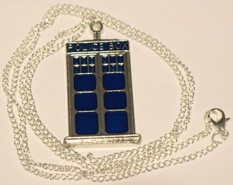 Doctor Who Tardis Necklace or Keychain Police Box Dr Who