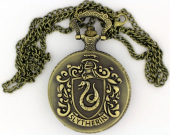 Slytherin Watch Necklace or Keychain Bronze Color