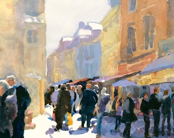 Watercolor of Honfleur France//Print of Honfleur Painting//cityscape//street scene//people and buildings art//painting of France//Edie Fagan