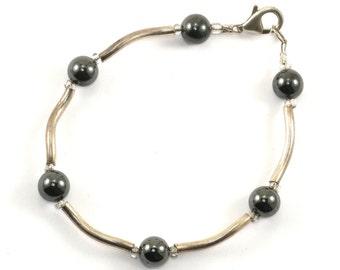 Vintage Black Grey Agate Beads Wave Design Bracelet 925 Sterling Silver BR 416