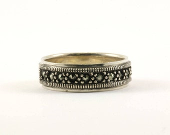 Vintage Women's Marcasite Inlay Band Ring 925 Sterling Silver RG 1097-E