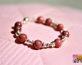 Rhodonite and Silver Magnetic Clasp Bracelet-Beaded Bracelet-Yoga Jewellery-Boho-Intention Bracelet-Gemstones-Handmade-Energised
