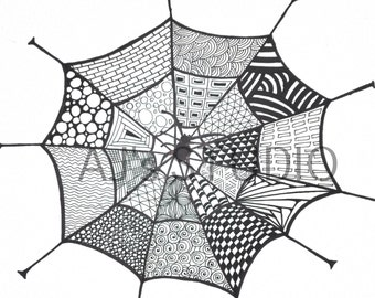 Spider web Zentangle, Adult coloring page, Digital Art