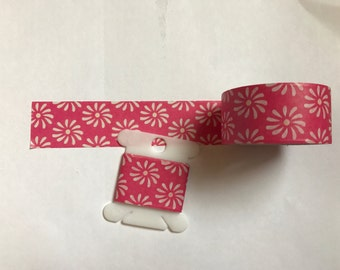 """Thick pink and white flower washi tape 24"""" sample"""