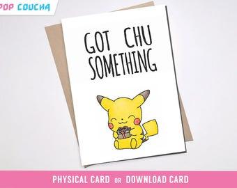PIKACHU PUN BIRTHDAY Greeting Card | Pun bday Cute Pokemon Go Boyfriend Girlfriend Anniversary Squirtle Charmander Pokemon Pun Kawaii