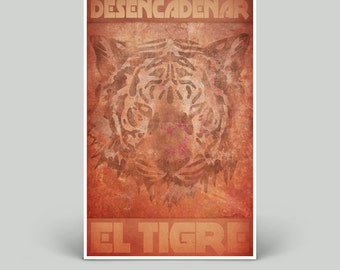 El Tigre Unleashed Edition | 11 x 17 Poster | Vintage Industrial Grunge | Digital Art Print