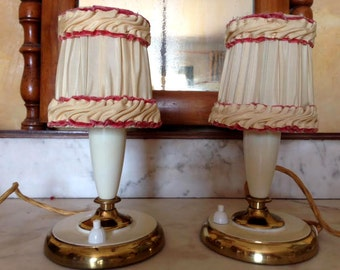 two vintage girly bedside lamps 1950