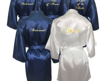 Bridesmaid Robes Set of 7, Bridesmaid Robe, White and Navy Blue Set of 7 Robes, Mother of the Bride, Maid of Honour, Bridal Party Robe