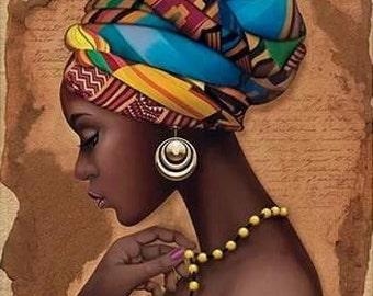 African Art Decor Cross Stitch Pattern - African Art Print - African Decor - Black Women - Embroidery - African Wall Art - PDF File