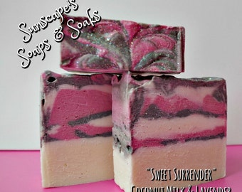 Sweet Surrender is a Handmade Artisan Soap with a Coconut Milk and Lavender Fragrance