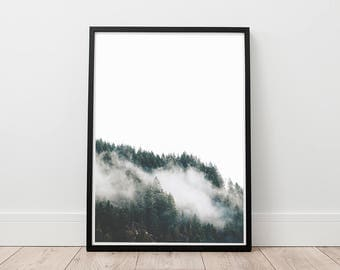 Mountain Print - Forest Wall Art, Digital Download, Foggy Mountains Printable , Minimalist Decor, Modern Art Print, Living room Wall Art