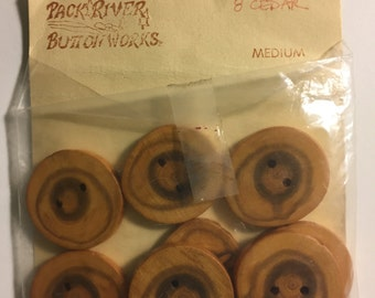 8 Pack River Button Works Cedar Buttons