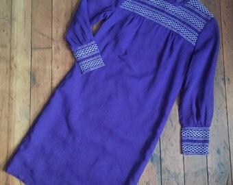 vintage 1960s Jonathan Logan dress // 60s purple smocking dress