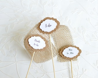 Engagement Party Decor, I do toppers, Table decor, Rustic wedding cake picks,  Bride to be topper, Set of 12 cake toppers, Script lettering