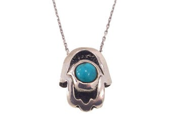Turquoise Hamsa Necklace - Turquoise Necklace - Hamsa Necklace - Silver Hamsa Necklace - Hamsa Pendant - Silver Hamsa - Silver Hamsa Charm