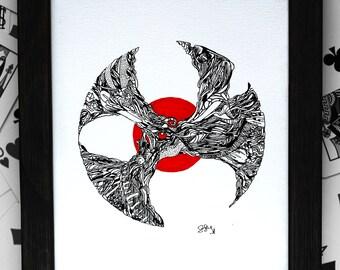 Original Pen and Ink Abstract Drawing Art Red Circle Illustration