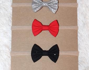 Mini fabric bow headband set