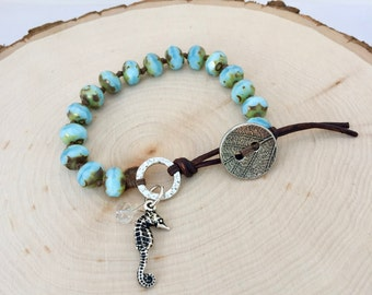 Small Turquoise Leather Wrap Bracelet
