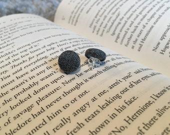 My Dear Watson   Sherlock Holmes inspired earrings   grey houndstooth   fabric covered button earrings   bookish jewelry