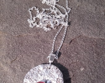 Hand Crafted reticulated Silver Pendant with Carnelian Stone