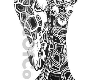 Black and white Giraffe  Print