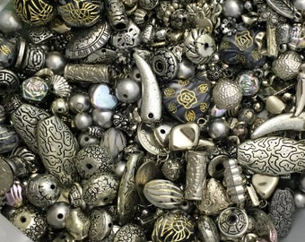 1kg of Mixed Silver Beads, Charms & Pendants.......A real mixed bag containing all sorts!