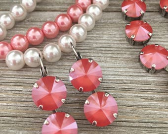 CORAL - 12mm Swarovski Crystal Dangle Earrings - Coral, Antique Silver