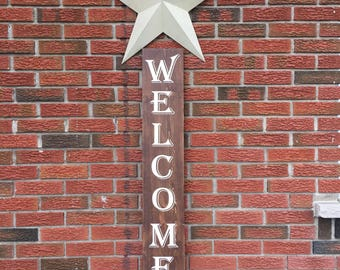 Welcome Sign, Vertical Welcome Sign, Tall Welcome Sign, Front Porch Sign, Front Door Sign, Entryway Sign, Patio Sign, Outdoor Sign, Vertical