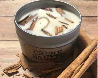 6oz Handmade Creme Brulee Candle, Soy candle, Natural wax,Travel candle, Creme Brulee, Dessert candle, Vanilla candle, Hand poured candle