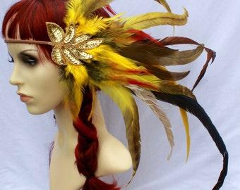 Gold Sequinned & Yellow Orange and Brown Feather Headband Romance Boho Headdress Summer Holiday Festivals