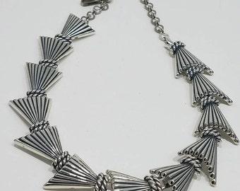 Beautiful Charel Art Deco Silver Tone Necklace