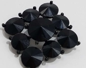 Beautiful Jet Black Mourning Brooch by Weiss