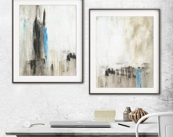 Abstract Print Digital Download Set Of Two Printable Art Tan Blue Modern Contemporary Urban Painting Interior Design Wall Decor - L. Beiboer