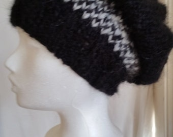 SALE! Beanie, unisex CAP, fluffy mohair wool hat, beanie, knit, wool hat, black cap, black and white hat