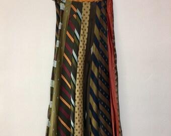 Vintage upcycled silk 1960's necktie boho SKIRT