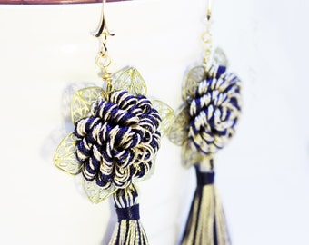 "Ivory and blue ""florenze"" earrings with trimmings and tassels."