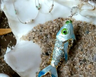 70 's retro white enamel fish necklace .