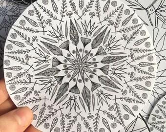 black and white nature mandala stickers