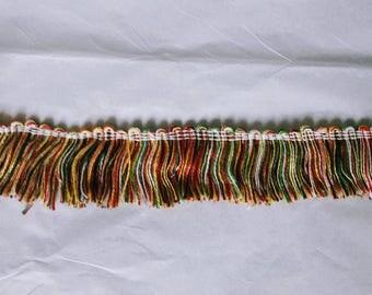 Rainbow colored fringe trim