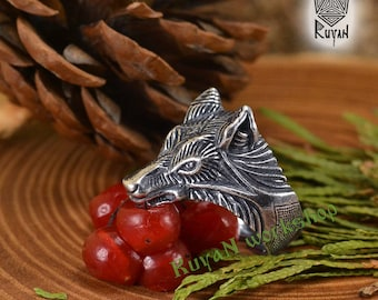 Wolf ring. Viking wolf ring. Fenrir ring. Viking Jewellery. Totem ring.  Wolf Head Ring