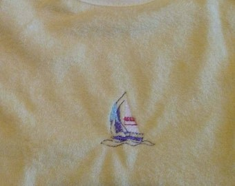Baby Boy's Sailboat Bib/Boy's spring Bib/Baby Shower Gift/Summer Bib/Yellow Boy's Bib