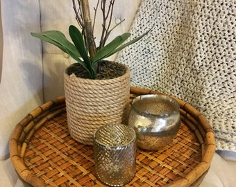 Large Round Bamboo Bentwood Rattan Woven Tray
