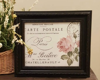 Framed French Print, Table Decor, Shabby Chic Print, French Print, Cottage Chic Print, Shabby Chic Decor,Shabby Chic french Print