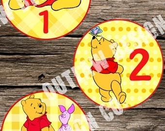 Baby Monthly Milestone Markers Printable Instant Download Winnie the Pooh Bear Piglet Disney Neutral Boy Girl Nursery