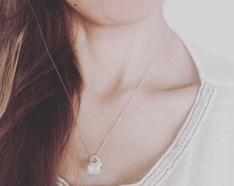 Bridesmaid Initial Charm Jewelry with Swarovski Pearl Hand Stamped Necklace Heart Charm Gift for Bridesmaid Personalized Gift Idea for Bride
