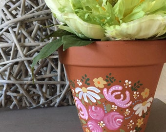 Floral Hand Painted Terracotta Plant Pot