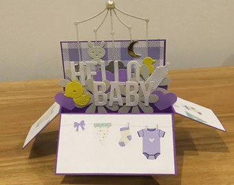 Hello Baby baby shower card or welcome baby card, baby card, baby boy, congratulations, welcome baby