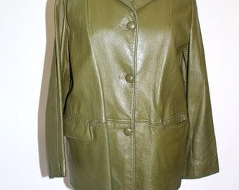 Vintage Clothing  • Late 60's • Olive Green • Short Leather Jacket •