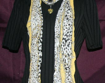 Scarf w/Jewelry Accessory - Yellow Cheetah