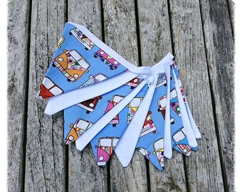 Campervan fabric bunting, VW camper bunting, blue and white bunting, Campervan decoration, Campervan lover gift idea